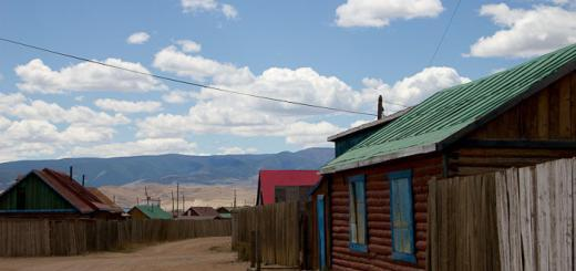 View of log cabins, sand and nothing, Mörön, Mongolia.