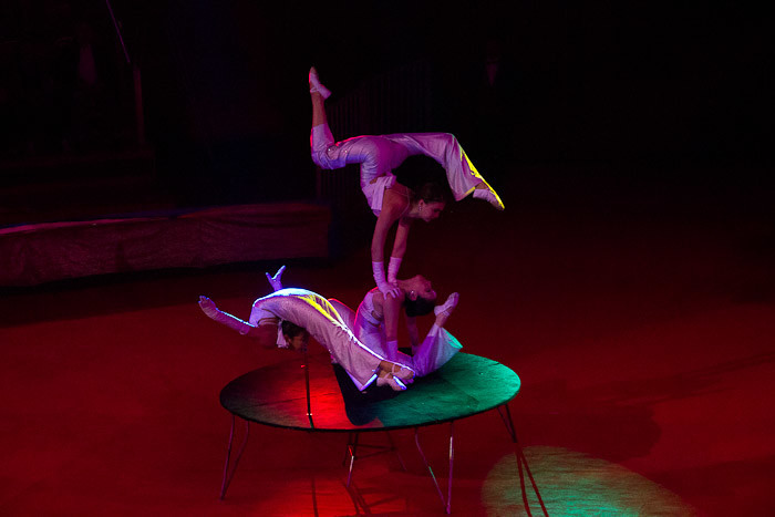 Contortionists at a circus in Mongolia.