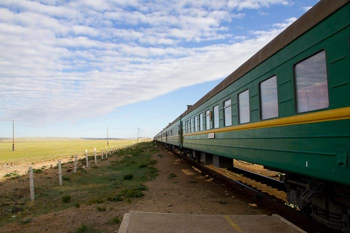 Mongolian train in the middle of nowhere.