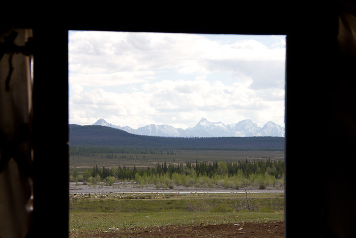 View from the door of a Mongolian ger.