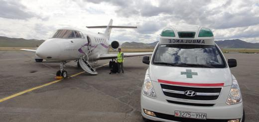 Land ambulance and air ambulance on tarmac.