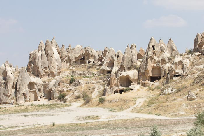 The remains of cave churches and cave monasteries in Cappadocia, Turkey.