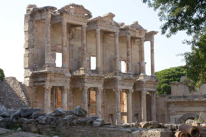 The remains of the library at Ephesus, Turkey.