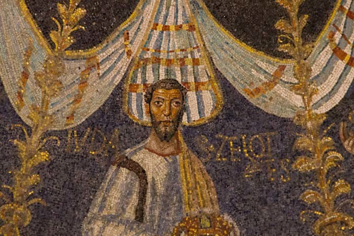 Judas on the wall of the Baptistery in Ravenna.