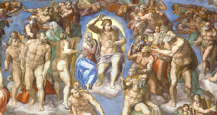 Last Judgement by Michelangelo in the Sistine Chapel, Rome.