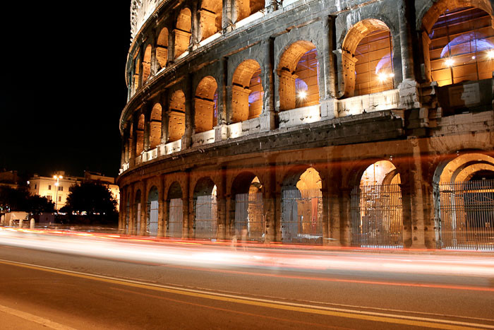 The Coliseum by night.