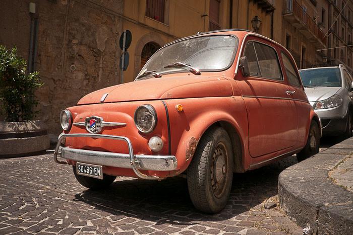 Vintage cinquecento (Fiat 500) in Italy.