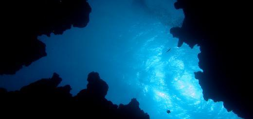Diving Dahab - looking up at the entrance to the Canyon.