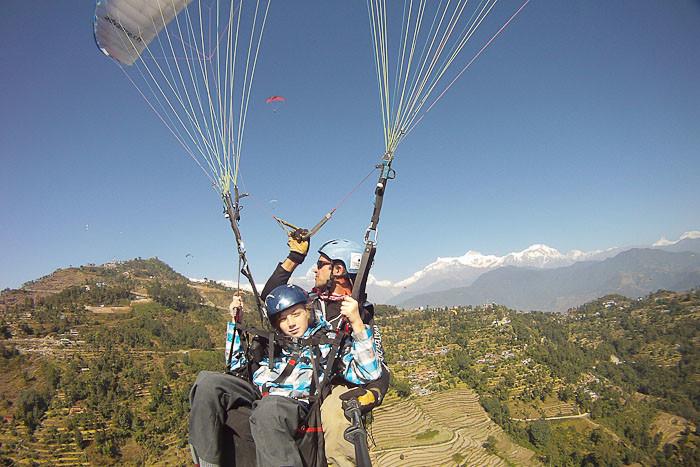 Zac paragliding in Pokhara.