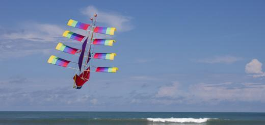 Kite flying over Seminyak Beach, Bali