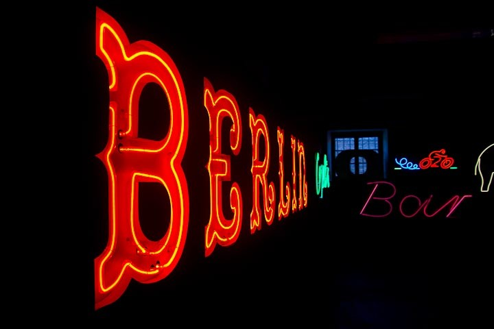 Neon signs, including one reading Berlin, at the Neon Museum in Warsaw.