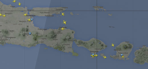 Graphic of planes in flight over Bali as the nightline moves to Java on FlightRadar24.
