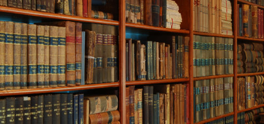 Antique books in a library.