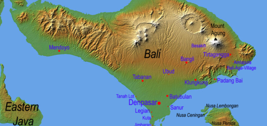 Relief map of Bali showing Agung and Batur.