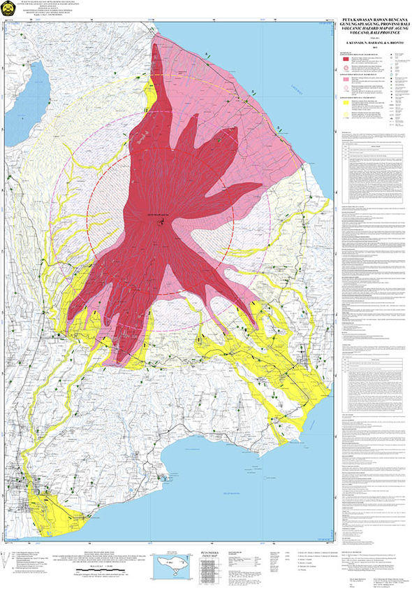 Map of the zones considered at risk from the Bali volcano.