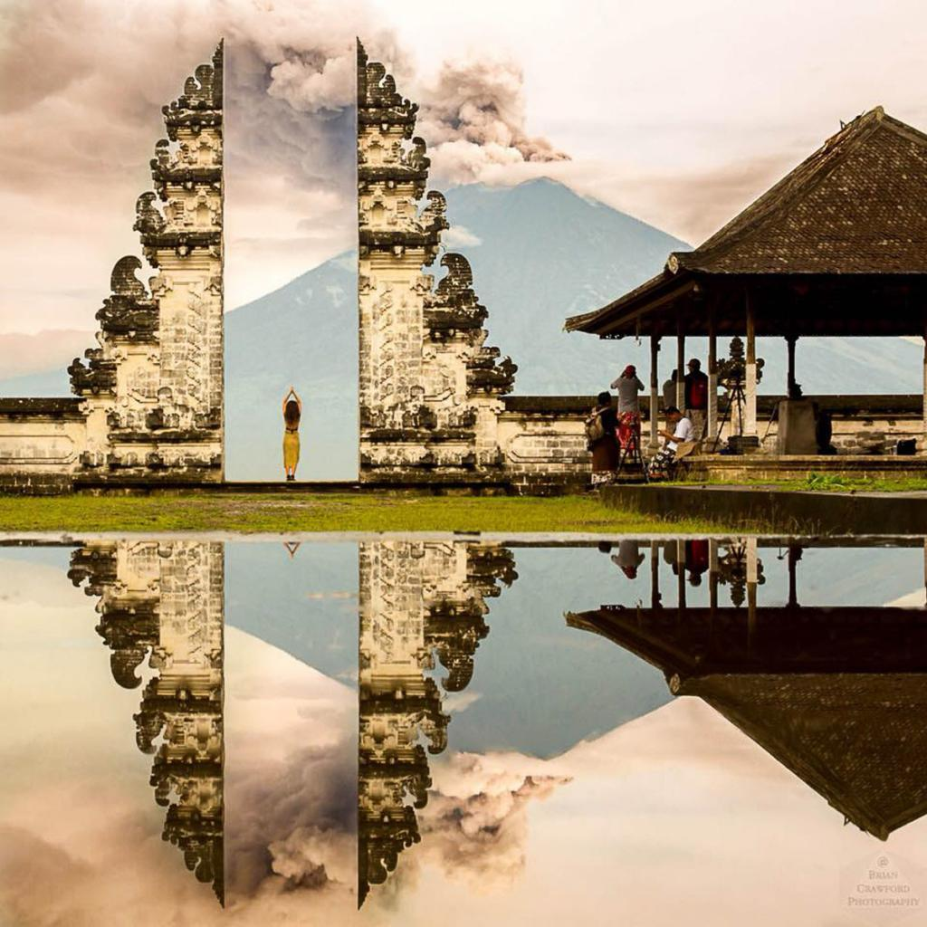 Bali's Mount Agung erupting seen from Pura Lempuyang by Brian Crawford.